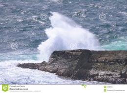 Ocean wave breaking on the rocks of the coastlineScotland, Uk 1630