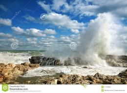 Huge Waves Breaking On Rocks In Sea Stock PhotosImage: 11754603 1818
