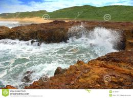 Ocean waves breaking on a rocky shoreline on phillip island in 1282