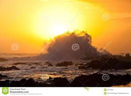 High Wave Breaking On The Rocks Stock ImageImage: 22119391 914