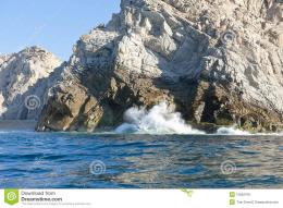 Scenic view of waves breaking on rocky coastline, Lands End, Cabo San 1474