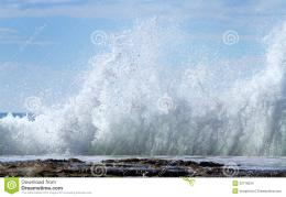 Waves break on rocks on the Queensland Coast, Australia 207
