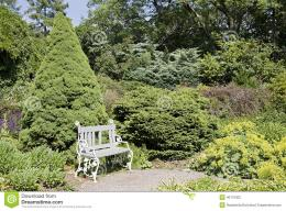 White bench among green plants on a sunny day 1864