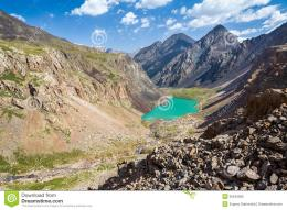 Wonderful Turquoise Mountain Lake, Kyrgyzstan Royalty Free Stock Photo 1971