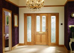Wooden doors and purple wallpaper | Download 3D House 514