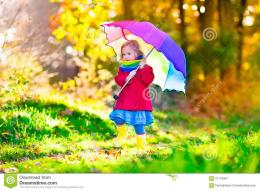 autumn park little girl holding walking forest sunny fall day children 271