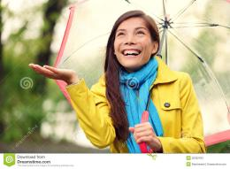 rainy fall day wearing yellow raincoat outside in nature forest by 803