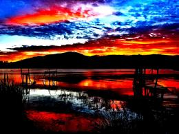 Sunset pier lovely island lake nice amazing:High Contrast 1323