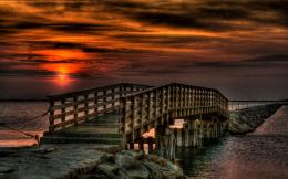pier, red, red sunset, reflection, rocks, sea, sky, splendor, sunset 1197