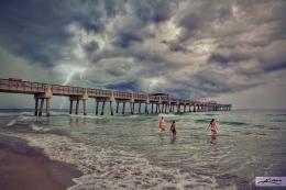 Juno Beach Pier Lightning Storm Over Ocean | HDR Photography by 1930