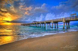 Juno Beach Fishing Pier During a Stormy Sunrise Over Atlantic | HDR 874