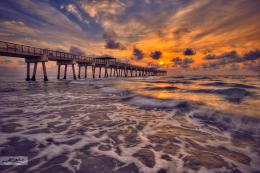 Juno Beach Pier Sunrise Over Ocean | HDR Photography by Captain Kimo 1737