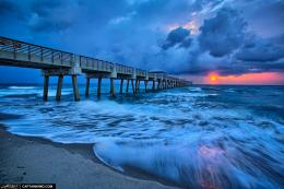 Juno Beach Pier Early Morning Cool Storm and Waves | HDR Photography 794