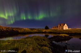 Northern lightsAurora borealisover Straumsvík farm house on a 1529