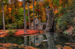 autumn trees mill walk park alley water mill forest leaves reflection 1165