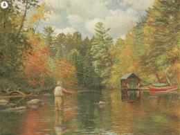 Autumn along the river flyfishing man boat HD Wallpaper 169