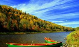 Autumn river bank tree boats nature 1280x768 1327