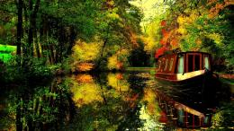 house boat on a river in autumn wallpaperForWallpaper com 1241