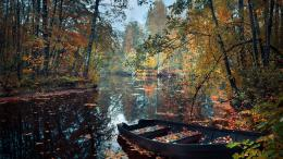 Autumn river leaves boat forest nature 1600x900 1407