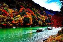 Autumn river near osaka japan hills boats:High Contrast 556
