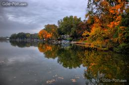 Download wallpaper autumn, river, trees, boat free desktop wallpaper 1017