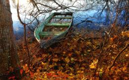 Lost boat trees river autumn nature 1280x800 138