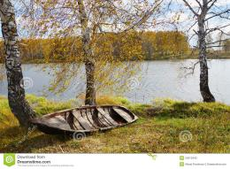 Autumn River With An Old Wooden Boat Stock PhotographyImage 1382