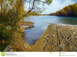 Royalty Free Stock Images: Autumn river scenics with boat 1067