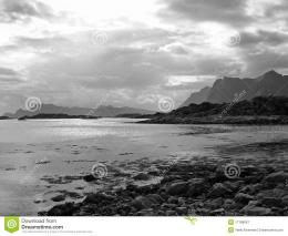 Beautiful balck and white landscape Lofoten Islands in Norway 339