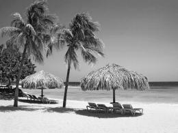 Black and White Wallpapers: Black and White Beach Landscape HD 202