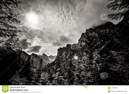 Beautiful Tatry Mountains Landscape In Black And White Royalty Free 1341