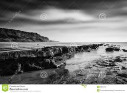 Beautiful Black And White Landscape Of Rocky Shore Royalty Free Stock 424