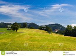 Beautiful mountain landscape with green meadow and blue sky above 142