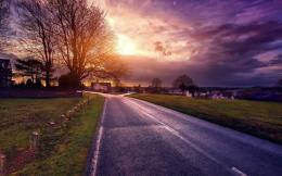 Village road at beautiful sunset hdr trees 1280x800 741