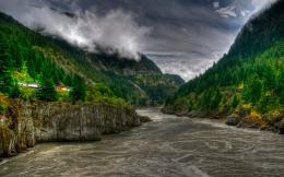 HD Wallpapers train in a beautiful valley of the river landscape hdr 1090