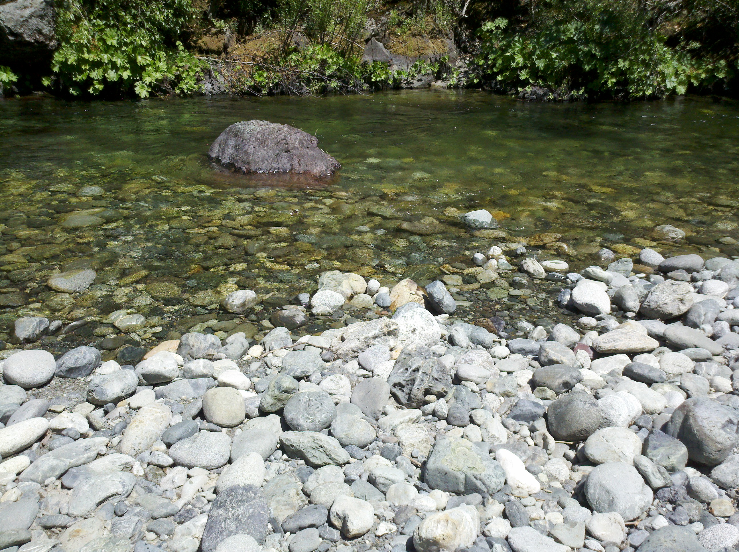 Beautiful round creek rocks and clear water, at Helene creek in 995