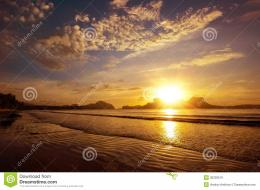 Beautiful Sunset On The Beach Amid The Islands With The Setting 1202