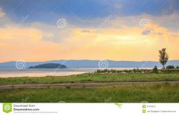 Beautiful sunset over the lake Argazi in Russia in the Urals 634