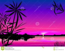 Vector Beautiful Sunset Over The Lake Stock ImagesImage: 18058724 1970