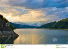 Sunset Over Mountain Lake Stock PhotoImage: 20529950 828