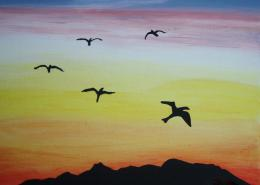 Birds in Silhuette Flying in Sunset SOLD | mtv65 | Foundmyself 284