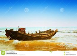 Boat Alone On Seashore Stock PhotographyImage: 10757552 1736