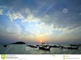 Longtail boats on seashore at sunrise, Lipe island, South of Thailand 129