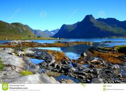 Colorful landscape in the lofoten islandsMountains reflections 939