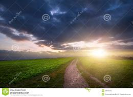 Royalty Free Stock Photos: Countryside landscape path leading through 1983