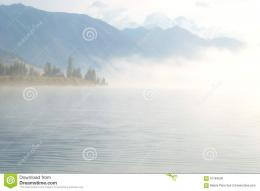 heavy fog early morning mountain lake yazevoe altai mountains 1184