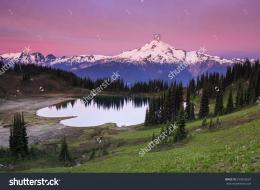 Early morning sunrise landscape photo of high alpine mountain lake and 1739