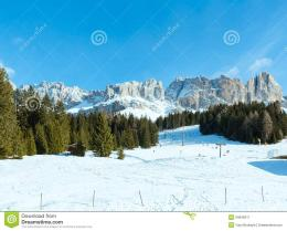Beautiful Winter Rocky Mountain LandscapeGreat Dolomites RoadStock 328