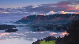 The post Sun rising over Skiddaw Mountain and Derwentwater in Cumbria 604