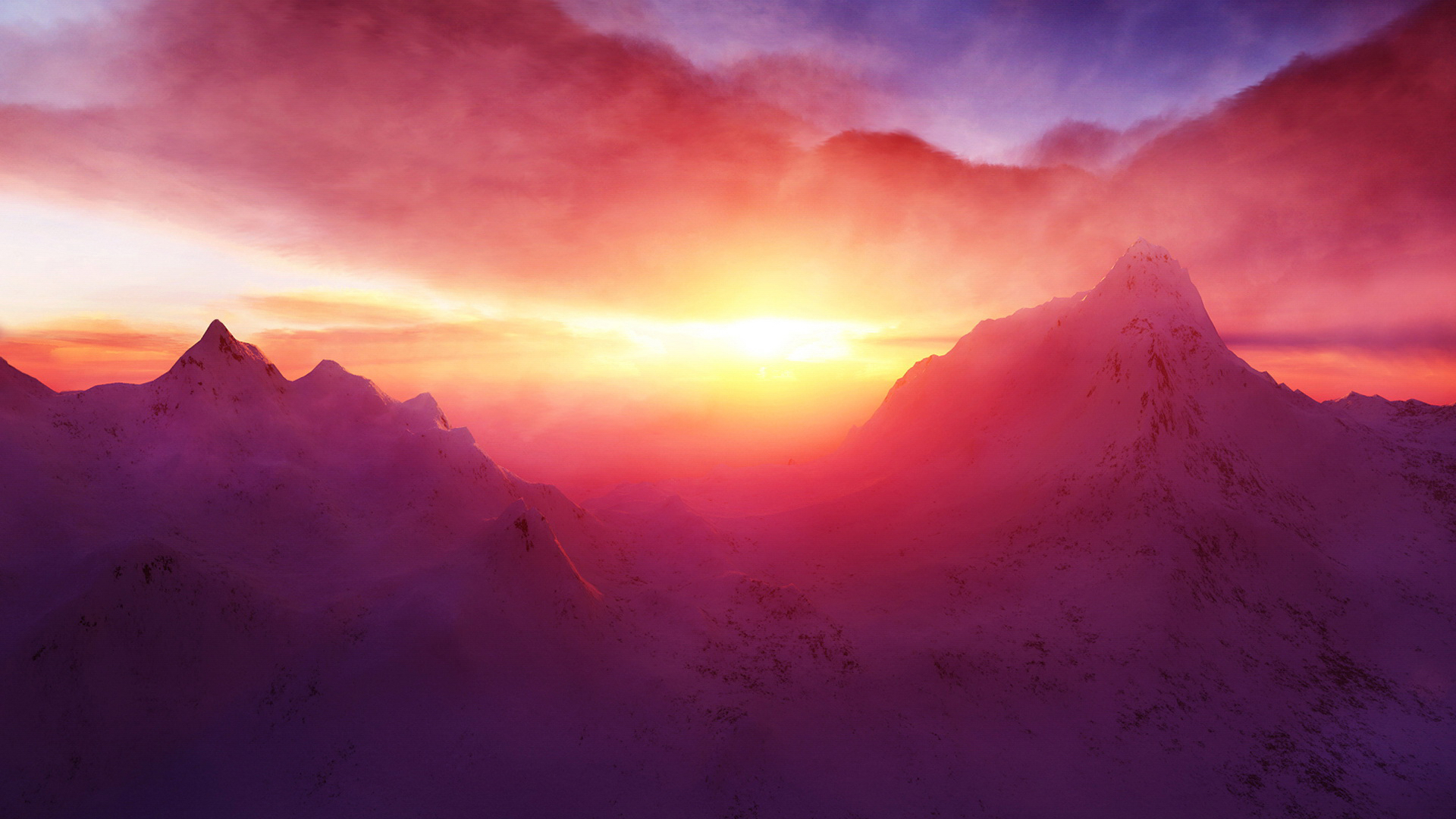 Snow and sunset1920 x 1080MountainsPhotography | MIRIADNA COM 822